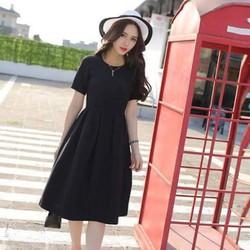 Đầm xòe xếp ly ngắn tay phong cách Hàn Quốc. -  DX48