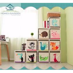 Bộ 4 cái Hộp lưu trữ đồ chơi cho bé hoạ tiết hoạt hình, chống nước