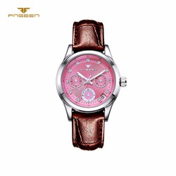 Đồng hồ nữ cơ tự động FNGEEN-Dây da mặt hồng viền bạc | FN14N