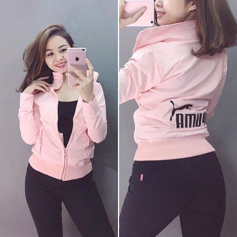 Áo khoác nữ trẻ trung màu hồng nhạt