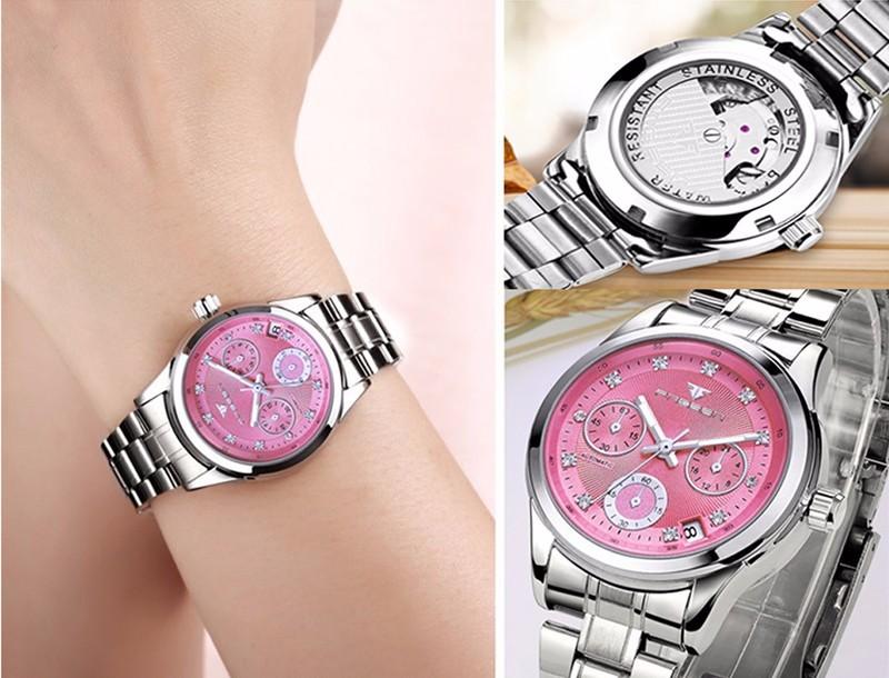 Đồng hồ nữ cơ tự động FNGEEN-Dây hợp kim mặt trắng viền bạc | FN12N 5