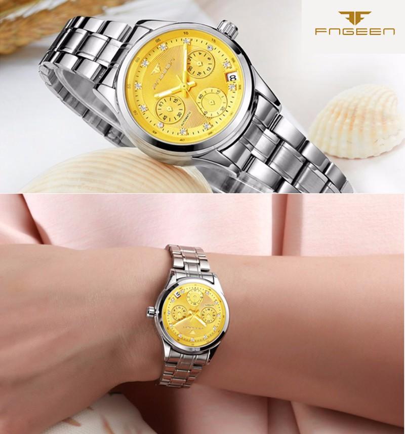 Đồng hồ nữ cơ tự động FNGEEN-Dây hợp kim mặt trắng viền bạc | FN12N 4