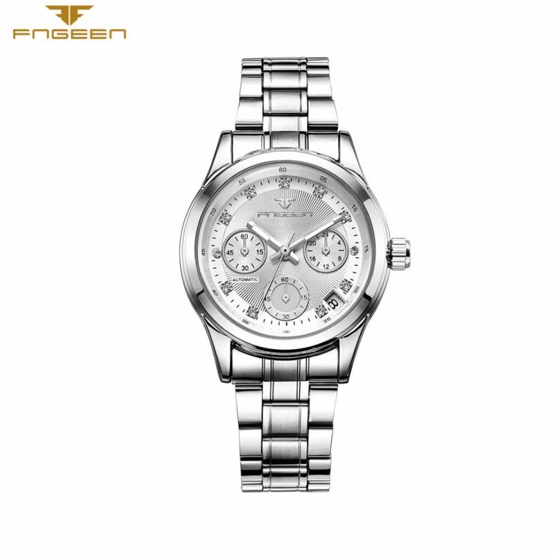 Đồng hồ nữ cơ tự động FNGEEN-Dây hợp kim mặt trắng viền bạc | FN12N 1