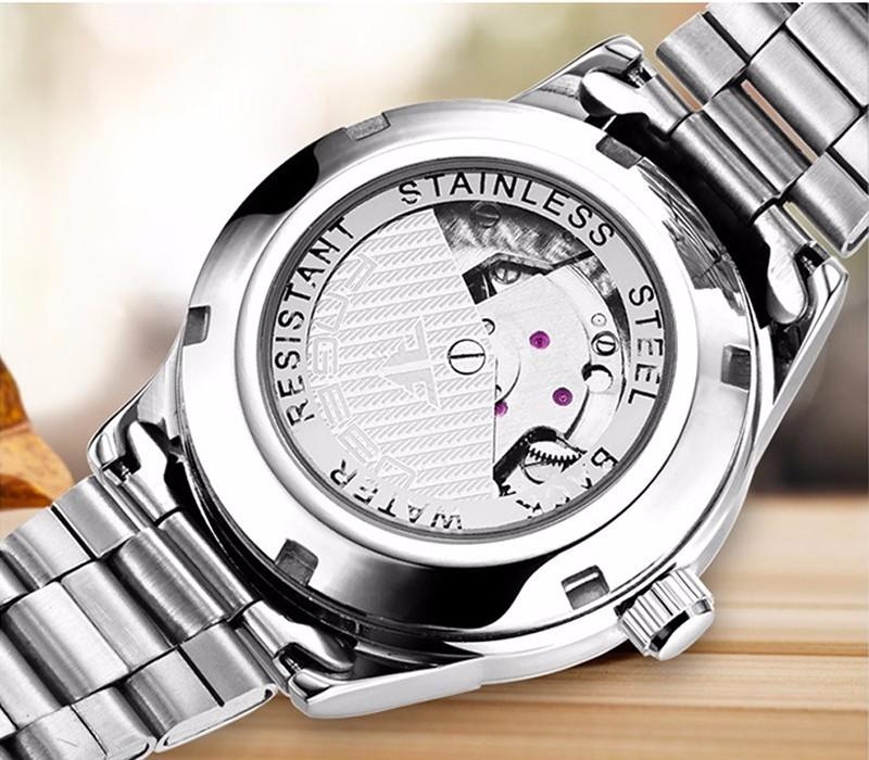 Đồng hồ nữ cơ tự động FNGEEN-Dây hợp kim mặt trắng viền bạc | FN12N 7