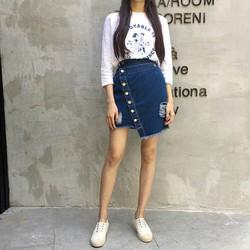 chân váy jeans đắp chéo nhiều nút Mã: VN673 - XANH ĐẬM
