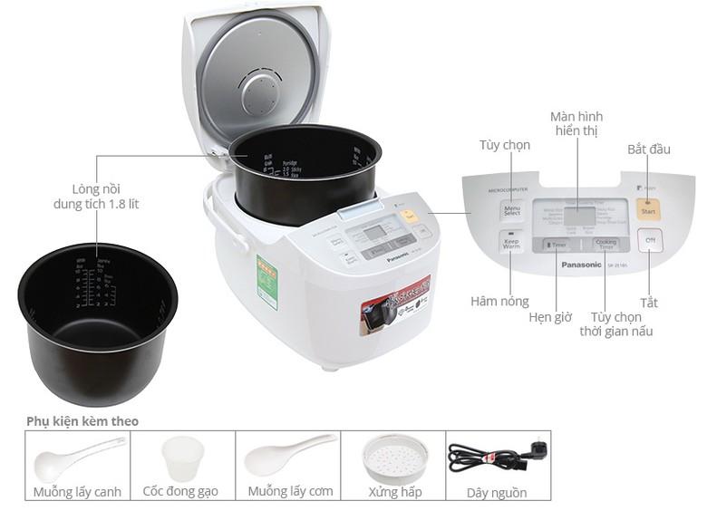 Thông số kỹ thuật Nồi cơm điện Panasonic 1.8 lít SR-ZE185WRA