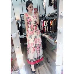 Đầm maxi voan hoa qc