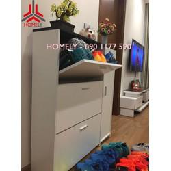 Tủ giầy gỗ xoay 3 tầng loại đa năng thích hợp cho căn hộ chung cư