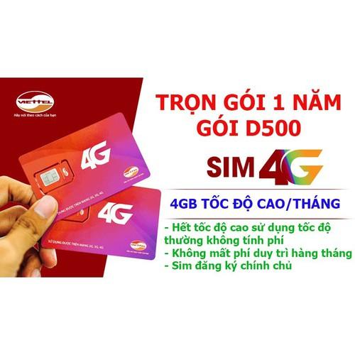 Sim 3G 4G Viettel trọn gói 1 năm 4GB tháng D500, Sim 12 tháng 1 năm