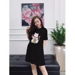 Đầm Suông In Hình Mèo