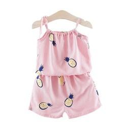đồ bộ 2 dây mặc nhà hình trái cây bé gái - đồ mùa hè cho bé