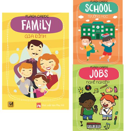 Bộ 3 thẻ Flash Card song ngữ chủ đề nghề nghiệp, gia đình, trường học