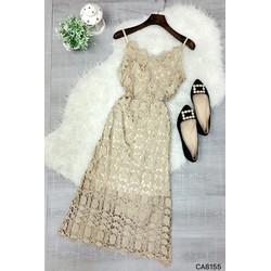 Đầm ren hoa 2 dây body dài
