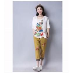 Hàng nhập - Sét áo from rộng + quần họa tiết thêu