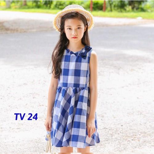 TV24- Váy thô kẻ caro cho bé 100-145cm