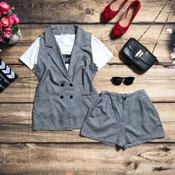 Set áo tay con, quần short kèm vest