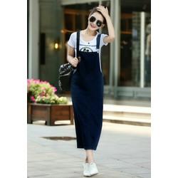 Đầm yếm jean dài