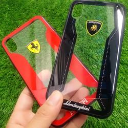 Ốp lưng Iphone X lưng kính Lamborghini. và Ferrari. cao cấp