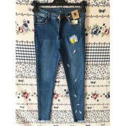 Quần jeans nữ lưng cao thêu hoa cúc cao cấp