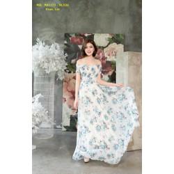 Đầm Maxi Cao Cấp Trễ Vai Nhún Ngực Dễ Thương