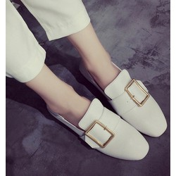 Giày loafer đế bệt 1 khóa giả dép
