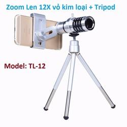 Ống kính Tele Zoom 12X vỏ kim loai kèm chân đế, TL-12