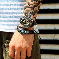 Vòng đeo tay 12 cung hoàng đạo da thật , mặt đá + vòng đá đen