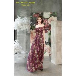 Đầm Maxi Cao Cấp Trễ Vai Nhún Ngực Tay Con