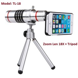 Ống kính Zoom 18X cho điện thoại và chân đế, TL-18