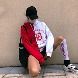 áo hoodie swag phối màu Mã: NT1962 - ĐỎ TRẮNG