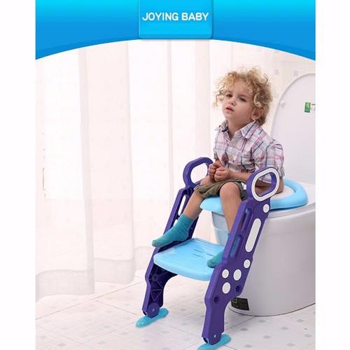 Ghế ngồi bồn cầu có thang vịn cho bé