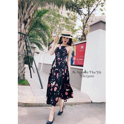 Đầm maxi hoa cổ yếm hai màu cực xinh TVDA56