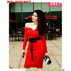 Đầm ôm body bẹt vai ngang màu đỏ sang trọng DOC857