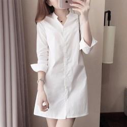 Áo váy sơ mi trắng cổ trụ form dài đơn giản vải dày cao cấp