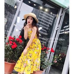 Đầm maxi hoa cổ yếm hai màu cực xinh