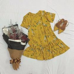 Đầm hoa vàng đuôi cá nữ tính đáng yêu