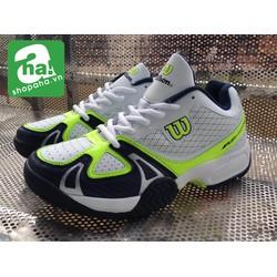 Giày tennis trắng đen xanh lá Wilson gtt35