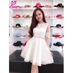 TiiT Shop - Đầm Xòe Chất Ren Phối Lưới Siêu Xinh BTD9