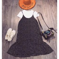 Set Váy áo váy chấm bi đuôi cá kèm áo áo thun trắng nữ tính