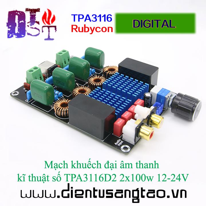 Mạch khuếch đại âm thanh  kĩ thuật số TPA3116D2 2x100w 12-24V