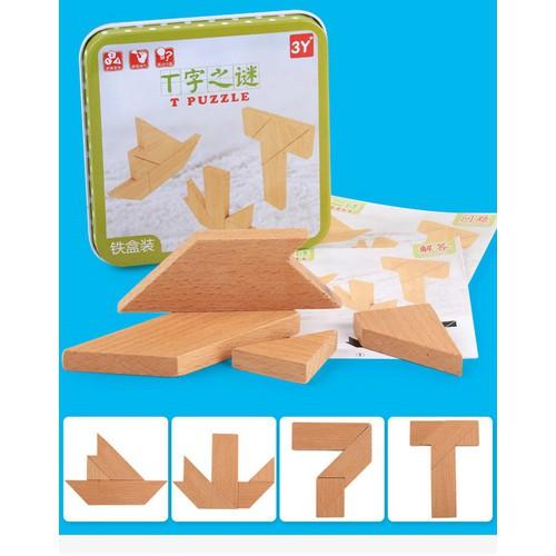 Tangram chữ T bằng gỗ có hốp đựng