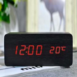 Đồng hồ gỗ LED, có đô nhiệt độ