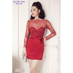 Đầm Ôm Body Đỏ Phối Ren Sang Trọng