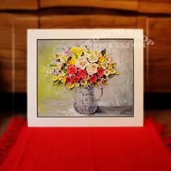 Tranh hoa đất sét Nhật handmade-ảnh thật