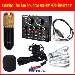 Combo Thu Âm Soudcar V8-BM900-liveTream