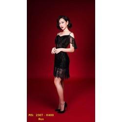 Đầm Xòe Ren Hai Dây Hở Lưng Sexy