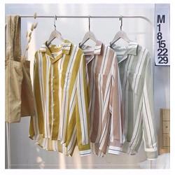 Áo sơ mi sọc màu nền trắng chất vải linen nhẹ mát