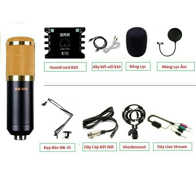 Combo Mic Thu Âm BM 700 800 900 Sound Card K10 1