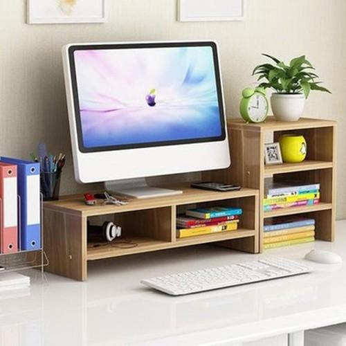 Kệ gỗ để màn hình, có ngăn tủ bên cạnh