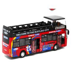 Đồ chơi xe buýt cho trẻ em mô hình tỉ lệ 1:32 bằng sắt có âm thanh và đèn xe chạy cót